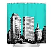 Tulsa Skyline - Aqua Shower Curtain