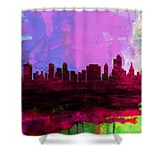 Tulsa Watercolor Skyline 2 Shower Curtain