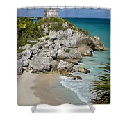 Tulum - Mayan Temple Shower Curtain