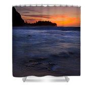 Tunnels Beach Dusk Shower Curtain