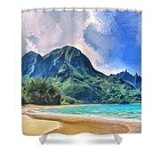 Tunnels Beach Kauai Shower Curtain