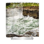 Turbulent Devils Churn - Oregon Coast Shower Curtain