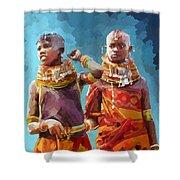 Young Turkana Girls Shower Curtain