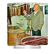 Turkish Rug Salesman Explains About Natural Dye Vats In Weaving Factory In Avanos-turkey  Shower Curtain