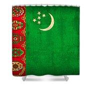 Turkmenistan Flag Vintage Distressed Finish Shower Curtain
