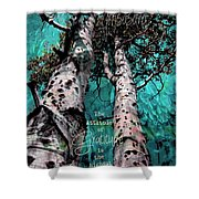 Turquois Trees  Shower Curtain
