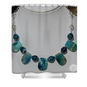 Turquoise And Sapphire Agate Necklace 3674 Shower Curtain