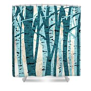 Turquoise Birch Trees Shower Curtain