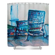 Turquoise Check In Shower Curtain