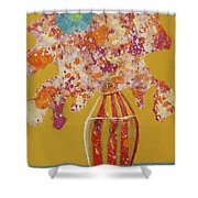 Turquoise Flower Shower Curtain