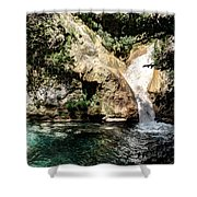 Turquoise Forest Pond On A Summer Day No2 Shower Curtain