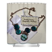Turquoise French Francs Dragonfly Necklace Shower Curtain