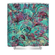 Turquoise 3d Sculpting Abstract Painting Shower Curtain