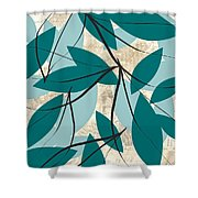 Turquoise Leaves Shower Curtain