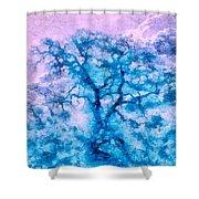 Turquoise Oak Tree Shower Curtain by Priya Ghose