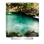 Turquoise River Waterfall And Pond Shower Curtain