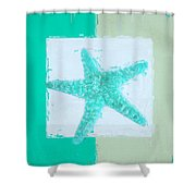 Turquoise Seashells Ix Shower Curtain by Lourry Legarde