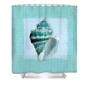 Turquoise Seashells Viii Shower Curtain by Lourry Legarde