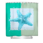 Turquoise Seashells Xiii Shower Curtain by Lourry Legarde
