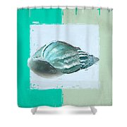 Turquoise Seashells Xiv Shower Curtain by Lourry Legarde
