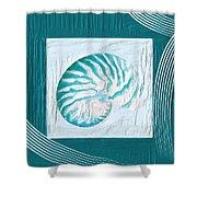 Turquoise Seashells Xxi Shower Curtain by Lourry Legarde