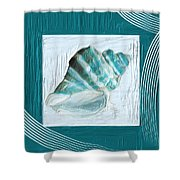 Turquoise Seashells Xxii Shower Curtain by Lourry Legarde