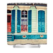 Turquoise Shutters Shower Curtain