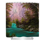 Turquoise Waterfall Shower Curtain