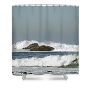 Turquoise Waves Monterey Bay Coastline Shower Curtain