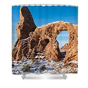 Turret Arch In Winter Shower Curtain