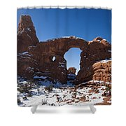 Turret Arch With Snow Arches National Park Utah Shower Curtain