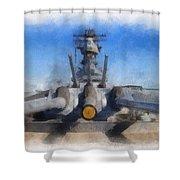 Turrets 1 And 2 Uss Iowa Battleship Photo Art 01 Shower Curtain