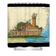 Turtle Rock Lighthouse Pa Chart Map Art  Shower Curtain
