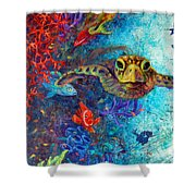 Turtle Wall 2 Shower Curtain