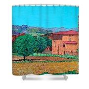 Tuscan Farm Village Shower Curtain