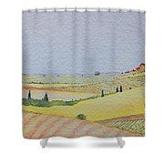 Tuscan Hillside Three Shower Curtain