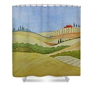 Tuscan Hillside Two Shower Curtain by Mary Ellen Mueller Legault