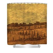 Landscape And Winding Road With Cypress Trees Shower Curtain