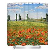 Tuscan Poppies-b Shower Curtain