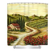 Tuscan Road With Poppies Shower Curtain