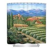 Tuscan Vineyard And Village  Shower Curtain