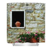 Tuscan Window And Flower Pot Shower Curtain