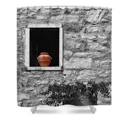 Tuscan Window And Pot Bw And Color Shower Curtain