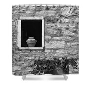 Tuscan Window And Pot Shower Curtain