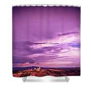Tuscania Village With Approaching Storm  Italy Shower Curtain