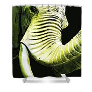 Tusk 1 - Dramatic Elephant Head Shot Art Shower Curtain by Sharon Cummings