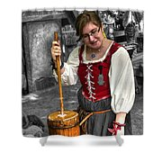 Tutor Milkmaid Churning Butter  V2 Shower Curtain