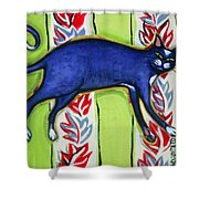 Tuxedo Cat On A Cushion Shower Curtain