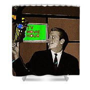 Tv Movie Hour Jake Crellin Kvoa Tv 1962 Sepia Toned Color Drawing Added 2009 Shower Curtain