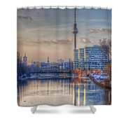 Tv Tower Sunset Shower Curtain